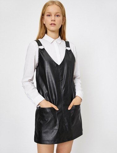 Koton Deri Görünümlü Elbise Siyah